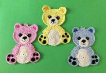 Crochet Teddy Bear Applique Free Pattern