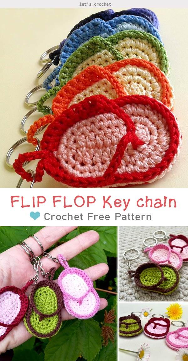 FLIP FLOP Key chain Crochet Free Pattern