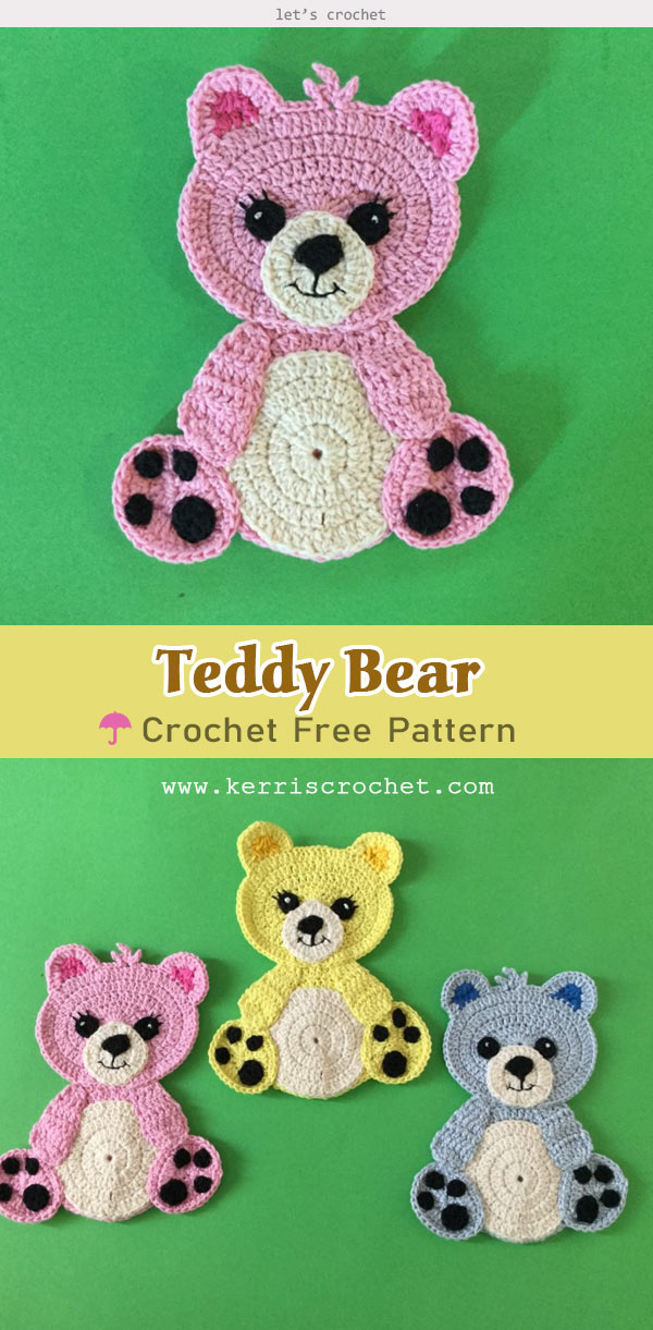 Crochet Teddy Bear Applique Free Pattern