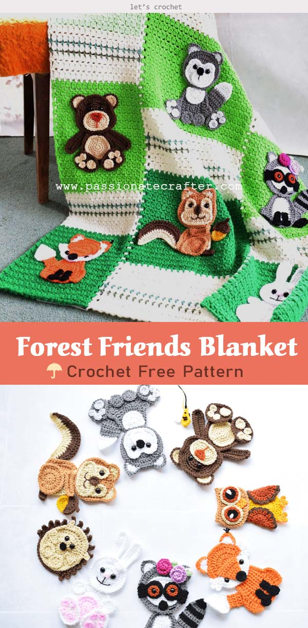 Forest Friends Baby Blanket Crochet Free Pattern