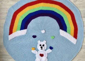 Love Bear Rainbow Baby Blanket free crochet pattern