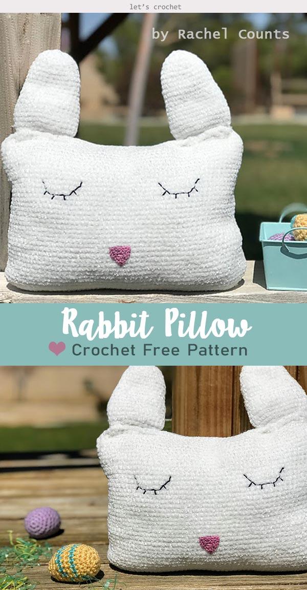 Crochet Rabbit Animal Pillow for kids Free Pattern