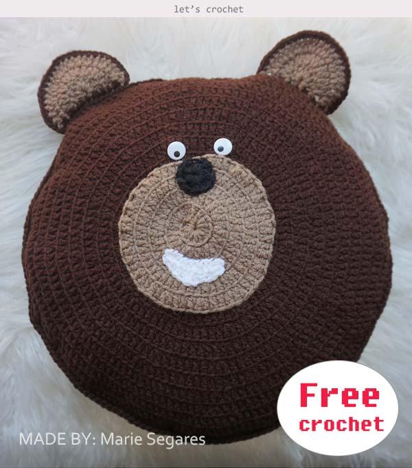 Crochet Bear Animal Pillow for kids Free Pattern