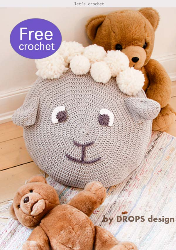 Crochet Sheep Animal Pillow for kids Free Pattern