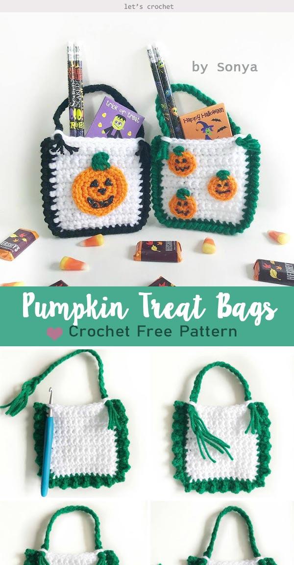 Pumpkin Treat Bags Free Crochet Pattern