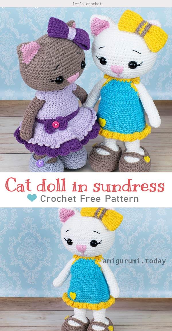 Cat doll in sundress Crochet Free Pattern