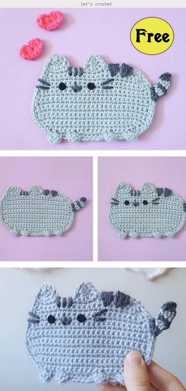 Fat Cat Applique Free Crochet Pattern