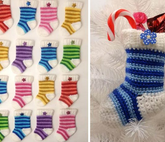 Mini Christmas Stocking Crochet Free Pattern