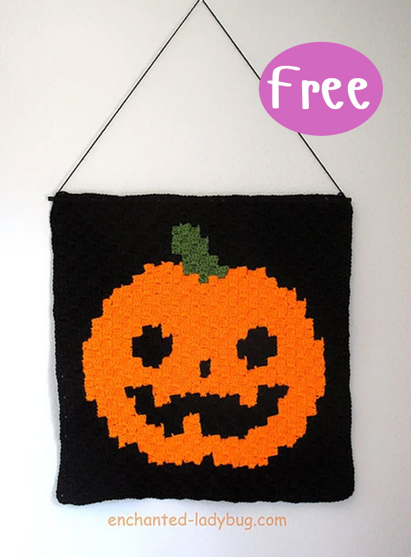 C2C Jack'oLantern Halloween Wall Hanging Crochet Free Pattern