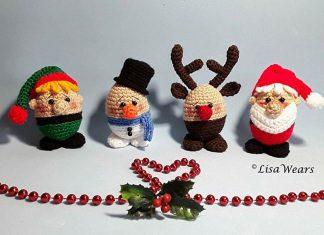 Christmas Eggheads Snowman Crochet Free Pattern