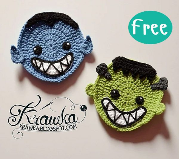 Crochet Halloween Coasters Ghost Spirit vampire Free Pattern