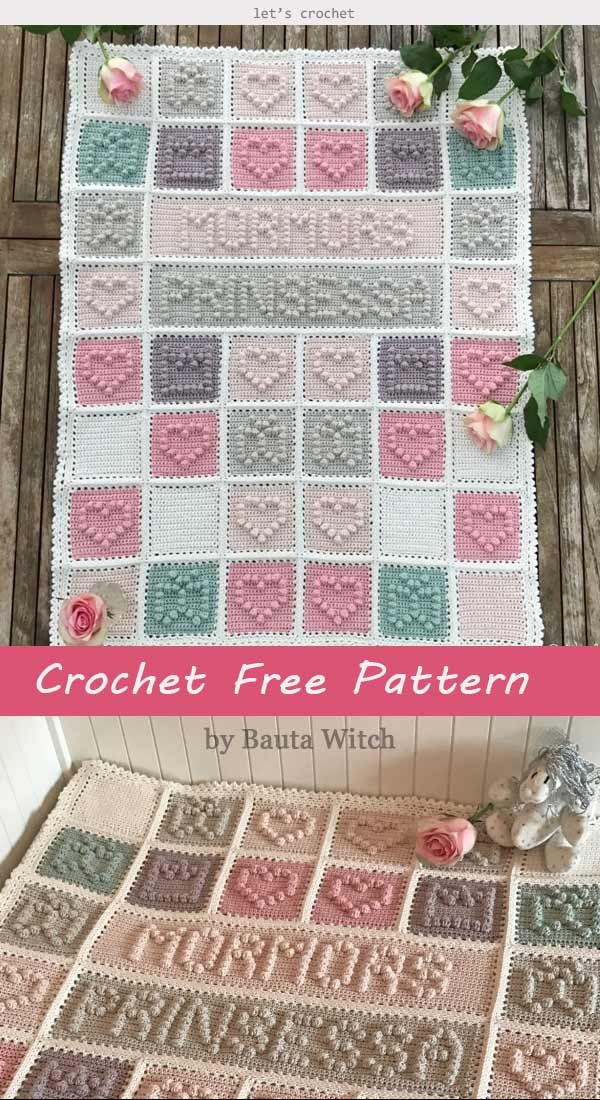 Crochet Bobble Heart Baby Blanket Free Pattern