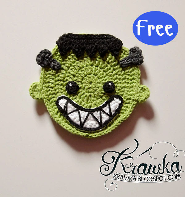 Crochet Halloween Coasters Ghost Spirit vampire Frankenstein's monster Free Pattern