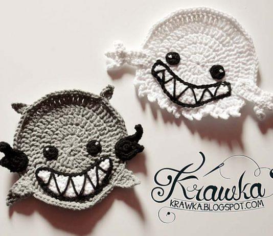 Crochet Halloween Coasters Ghost Spirit vampire Free Pattern