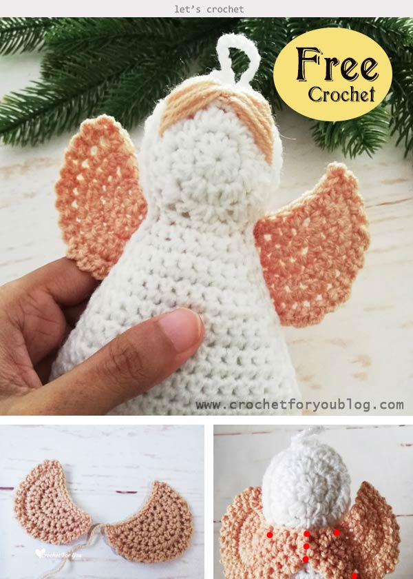 Crochet Granny Square Angel Christmas Ornament Free Pattern