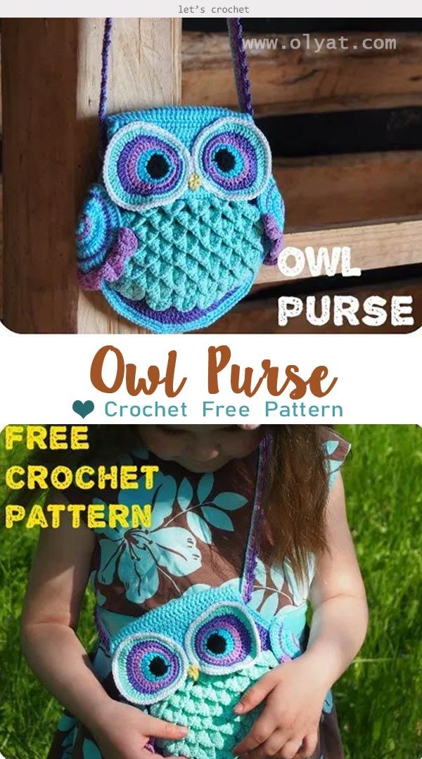 """Owl Purse """"Blue Dreams"""" Crochet Free Pattern"""