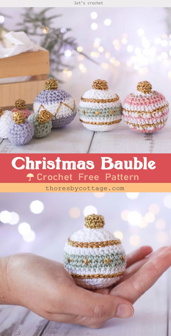 Christmas gold bauble crochet pattern