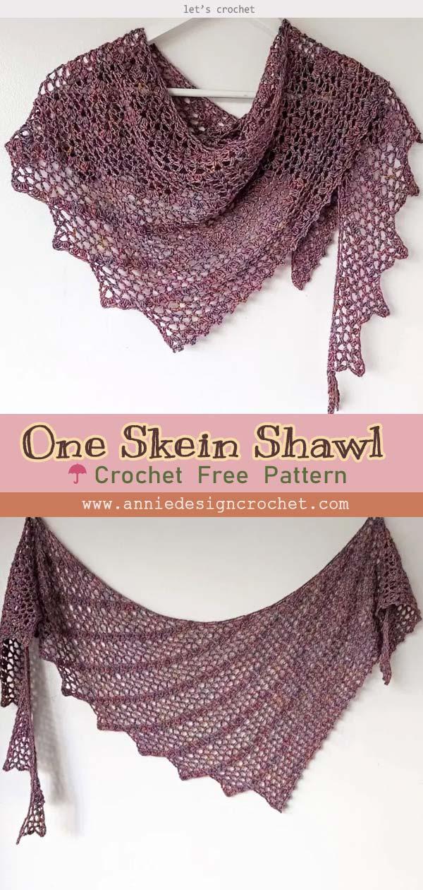 One Skein Crochet Shawl Free Pattern