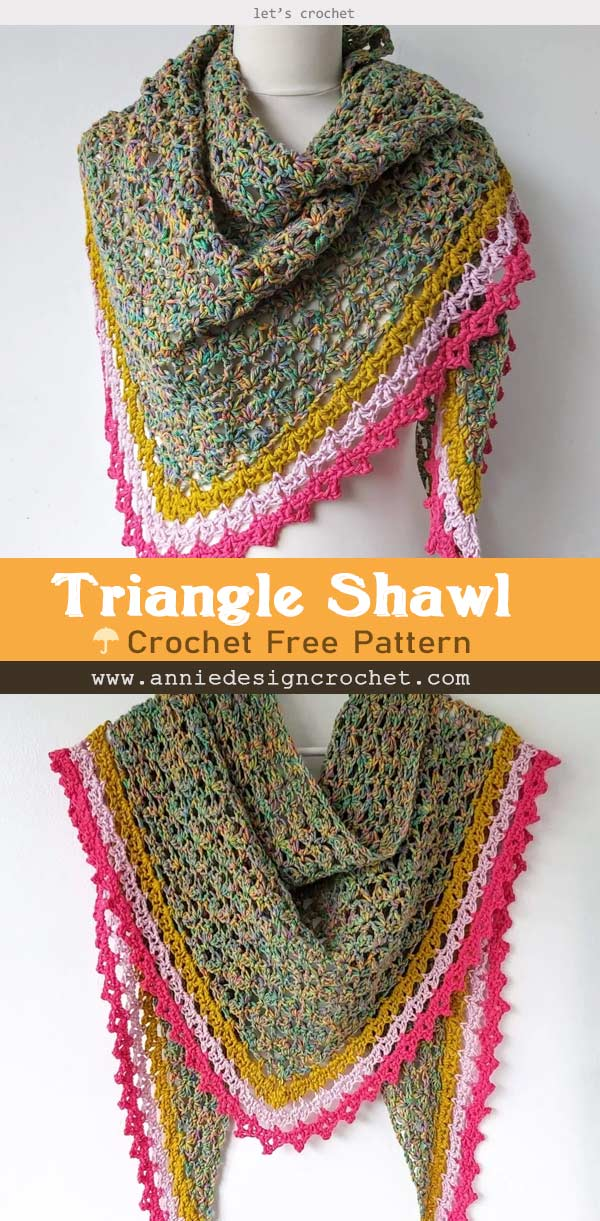 Easy Crochet Triangle Shawl Free Pattern