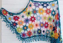 Colourful Cosy Flower Shawl Crochet Free Pattern