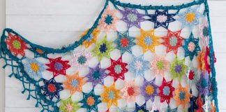Colourful Cosy Flower Shawl Crochet Free Pattern