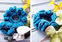 Double Blooms Scrunchie Free Crochet Pattern