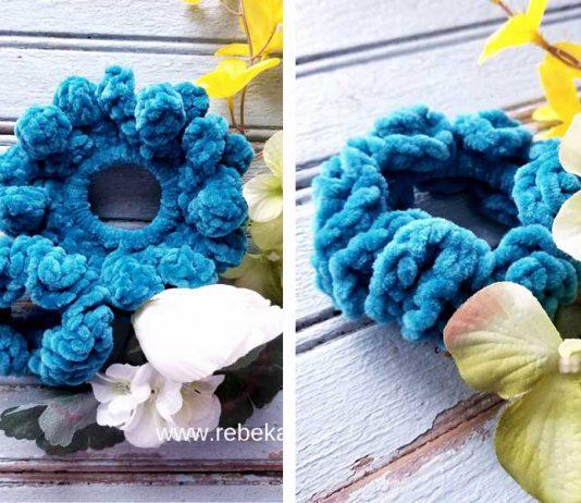 Double Blooms Scrunchie Free Crochet Pattern