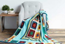 Granny Stripes & Squares Blanket Free Crochet Pattern