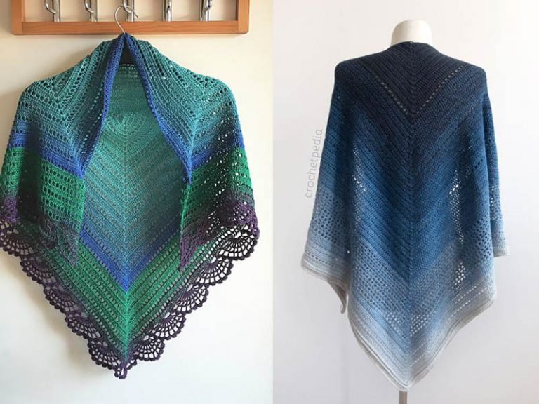 The Peafowl Feathers and Lake Midnight Shawl Free Crochet Pattern
