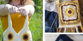 Sunflower Bag Free Crochet Pattern