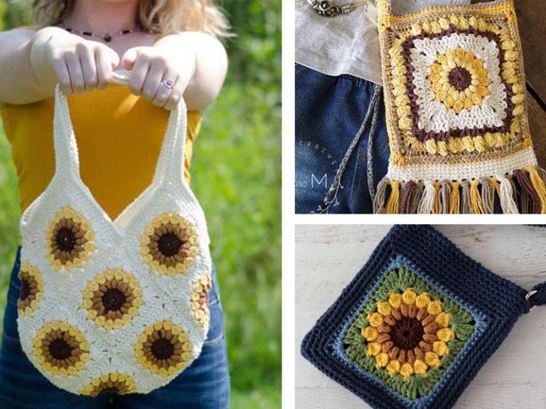 3 Sunflower Bag Free Crochet Pattern
