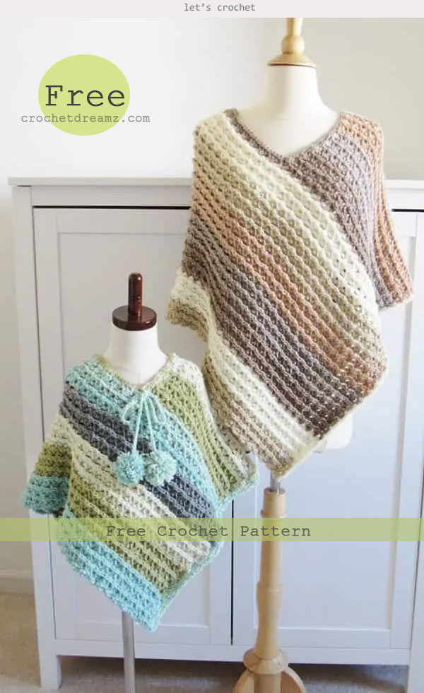 Kid's Crochet Poncho Free Pattern