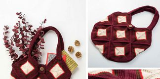 Winter Diamonds Market Bag Free Crochet Pattern
