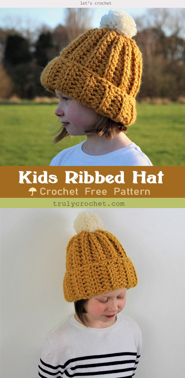 Kids Ribbed Hat – Free Crochet Pattern