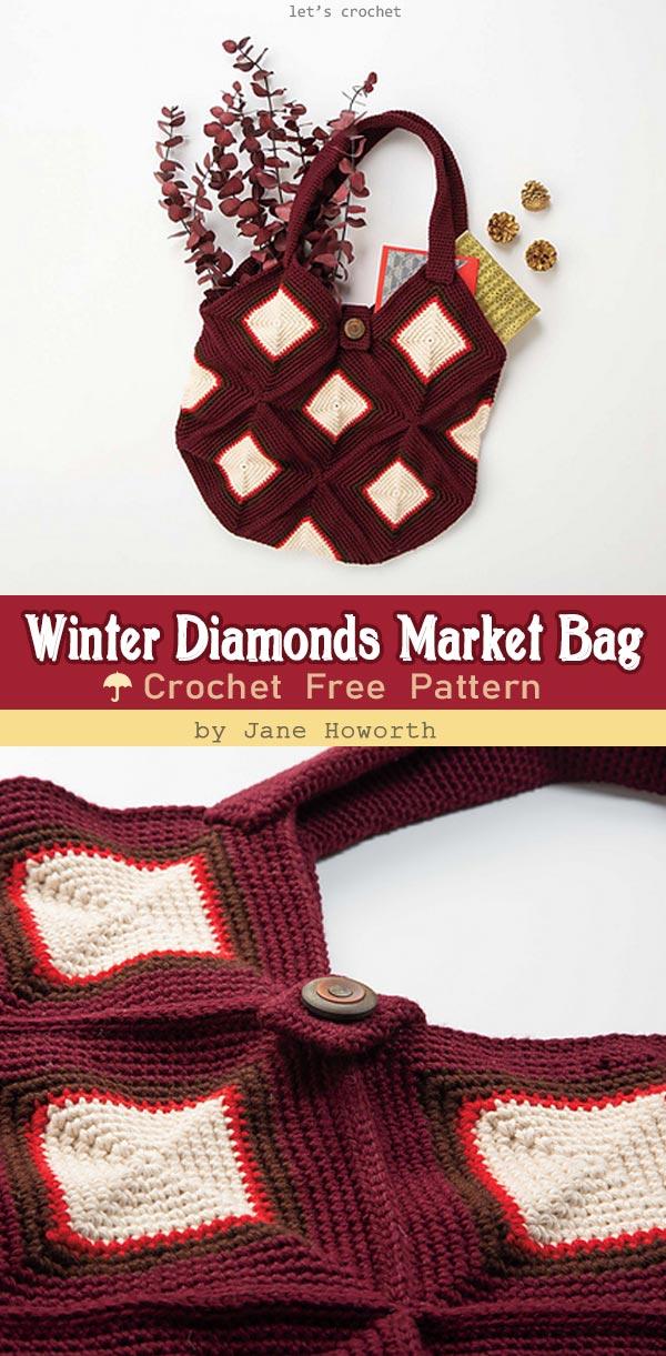 Winter Diamonds Market Bag Free Crochet Pattern