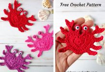 Crochet Heart Crab Applique Free Pattern