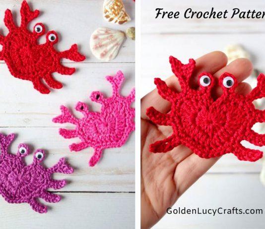 Crochet Heart Crab Applique Free Pattern