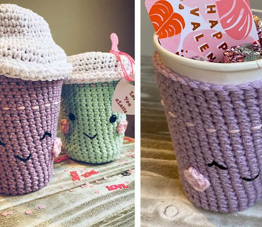 Love You Latte Cup Cozy Crochet Free Pattern