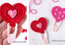Heart Air Balloon Applique Free Crochet Pattern
