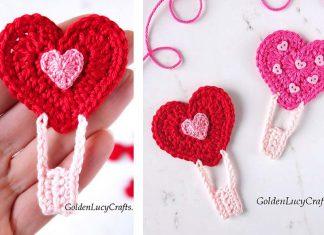 Heart Air Balloon Applique Free Crochet Pattern
