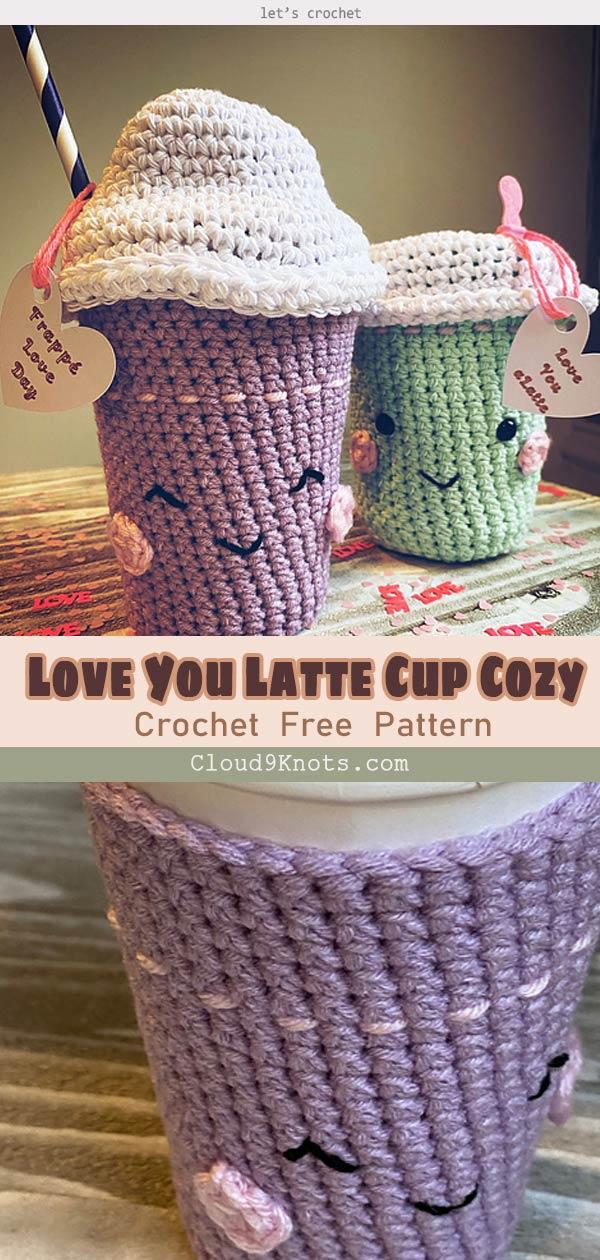Love You Latte Cup Cozy Crochet Free Pattern