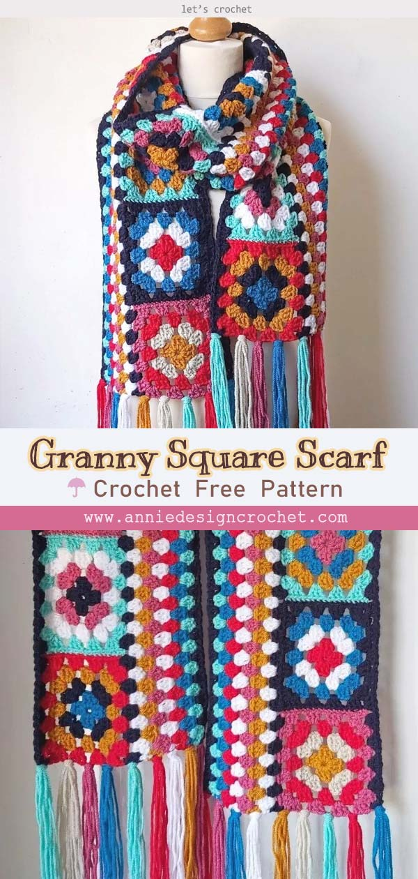 Crochet Granny Square Scarf Easy Free Pattern