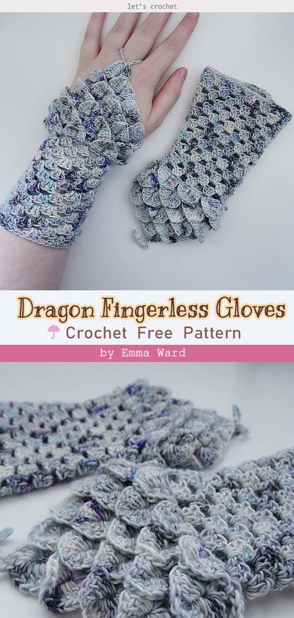 Crochet Basic Granny Dragon Fingerless Gloves Free Pattern