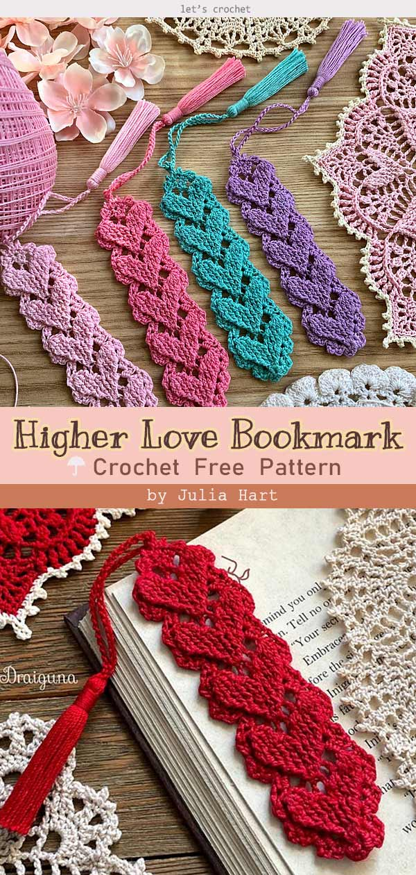 Crochet Higher Love Bookmark Free Pattern