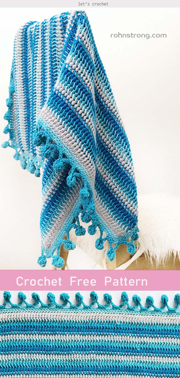 THE SNOWBALL THROW BLANKET Crochet Free Pattern