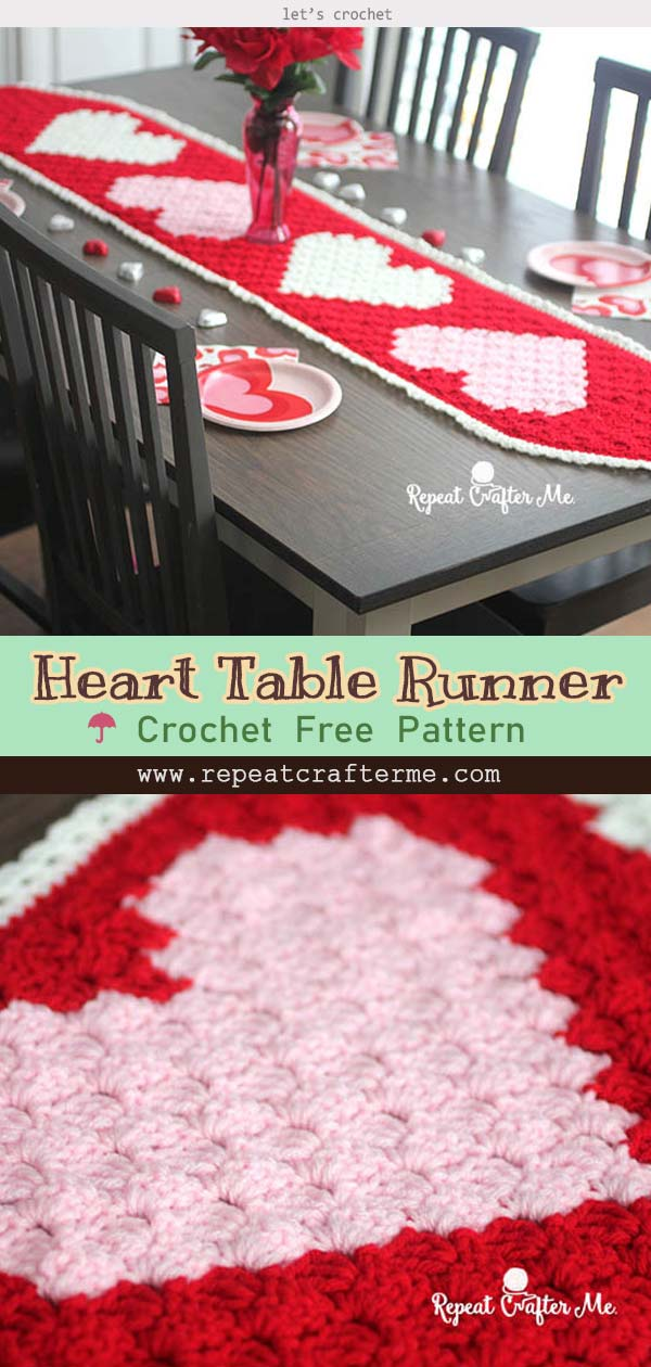 Crochet c2c Valentine's Heart Table Runner Free Pattern
