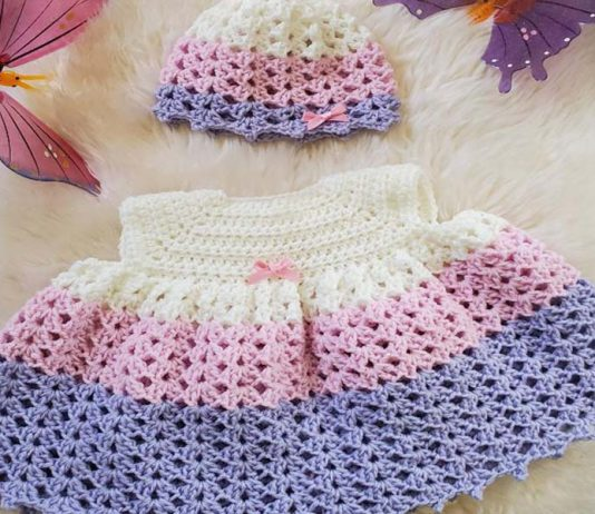 EVA- BABY GIRL DRESS AND HAT CROCHET FREE PATTERN