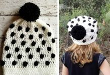 Black & White Bobble Crochet Beanie Hat Free Pattern
