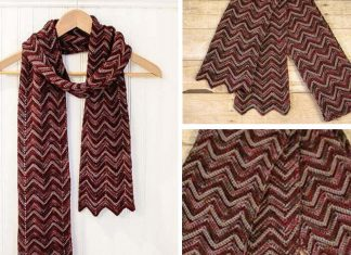 Three-Color Crochet Ripple Scarf Free Pattern