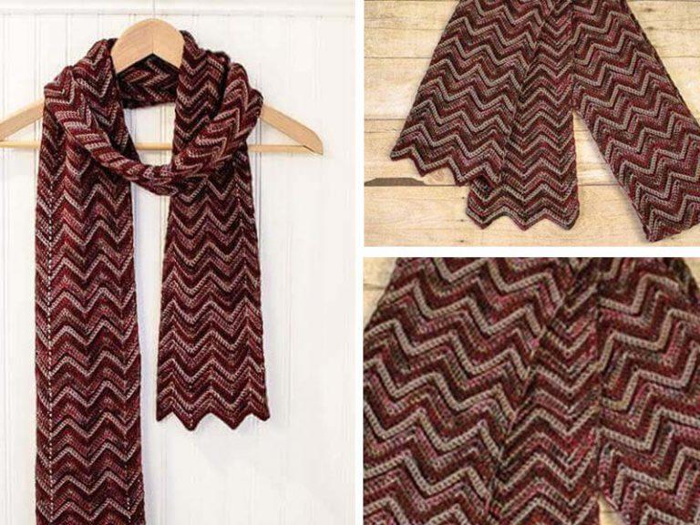 Three-Color Crochet Ripple Scarf Free Pattern